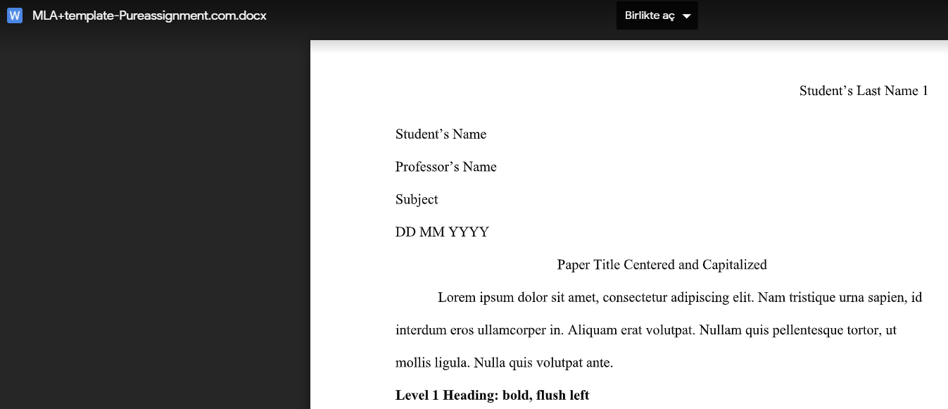 MLA template free download link proof